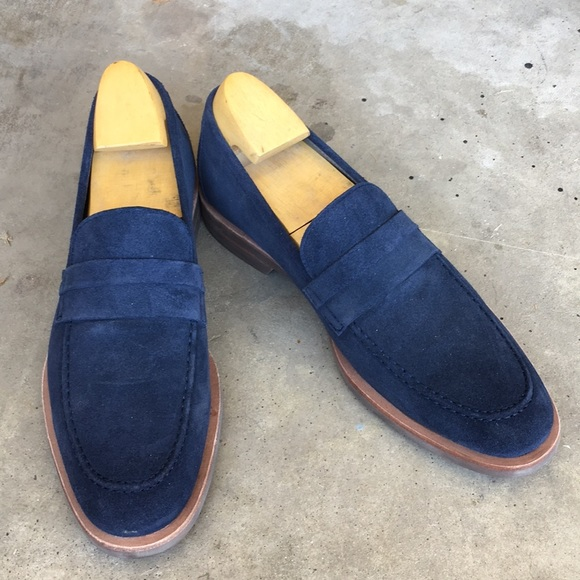 Calvin Klein Mens Blue Suede Shoes